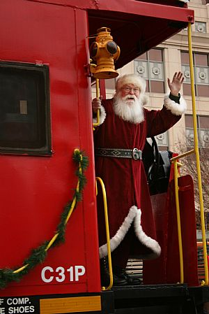 Santa arrives by rail at the Link Museum in Roanoke.