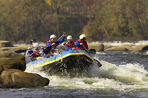 Whitewater rafting on the James River in downtown Richmond.