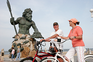 The Virginia Beach Boardwalk is a popular place to ride your bike along the Atlantic coast.
