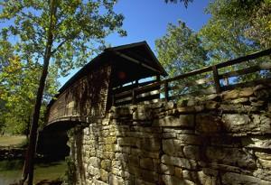 Dunlap Creek flows beneath Humpback Bridge.