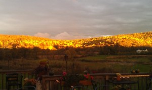Sunset view from the deck at Grandale Farm Restaurant.