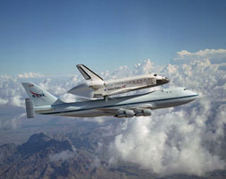 Space Shuttle Discovery Flies Atop 747. Photo courtesy of Smithsonian National Air and Space Museum.