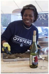 Oyster Shucking Champion Deborah Pratt at Cardinal Point Vineyard & Winery. Also see her at the Urbanna Oyster Festival.