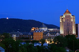 A view of Mill Mountain Star from Roanoke, Virginia.