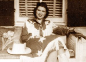 Patsy on the front porch of 608 S. Kent Street, now The Patsy Cline Historic House.