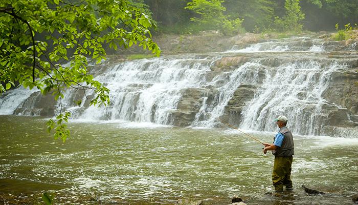 Fishing at Pinnacle Natural Area Preserve, Big Cedar Creek