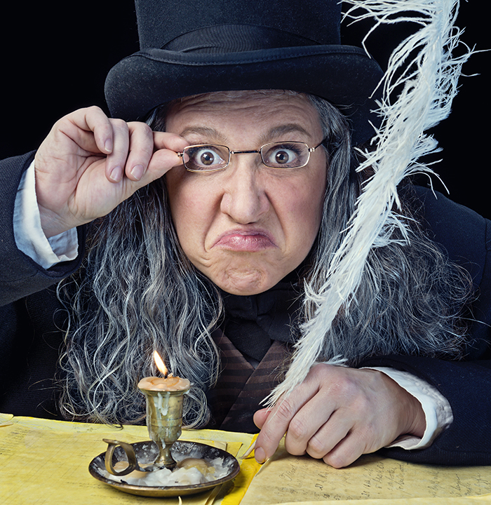 Allison Glenzer as Scrooge in A Christmas Carol. Photo by Michael Bailey.