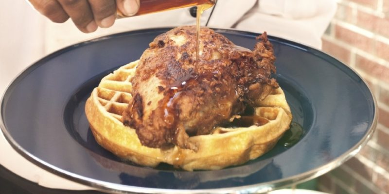 FoodE's Chicken & Waffles with Maple Syrup