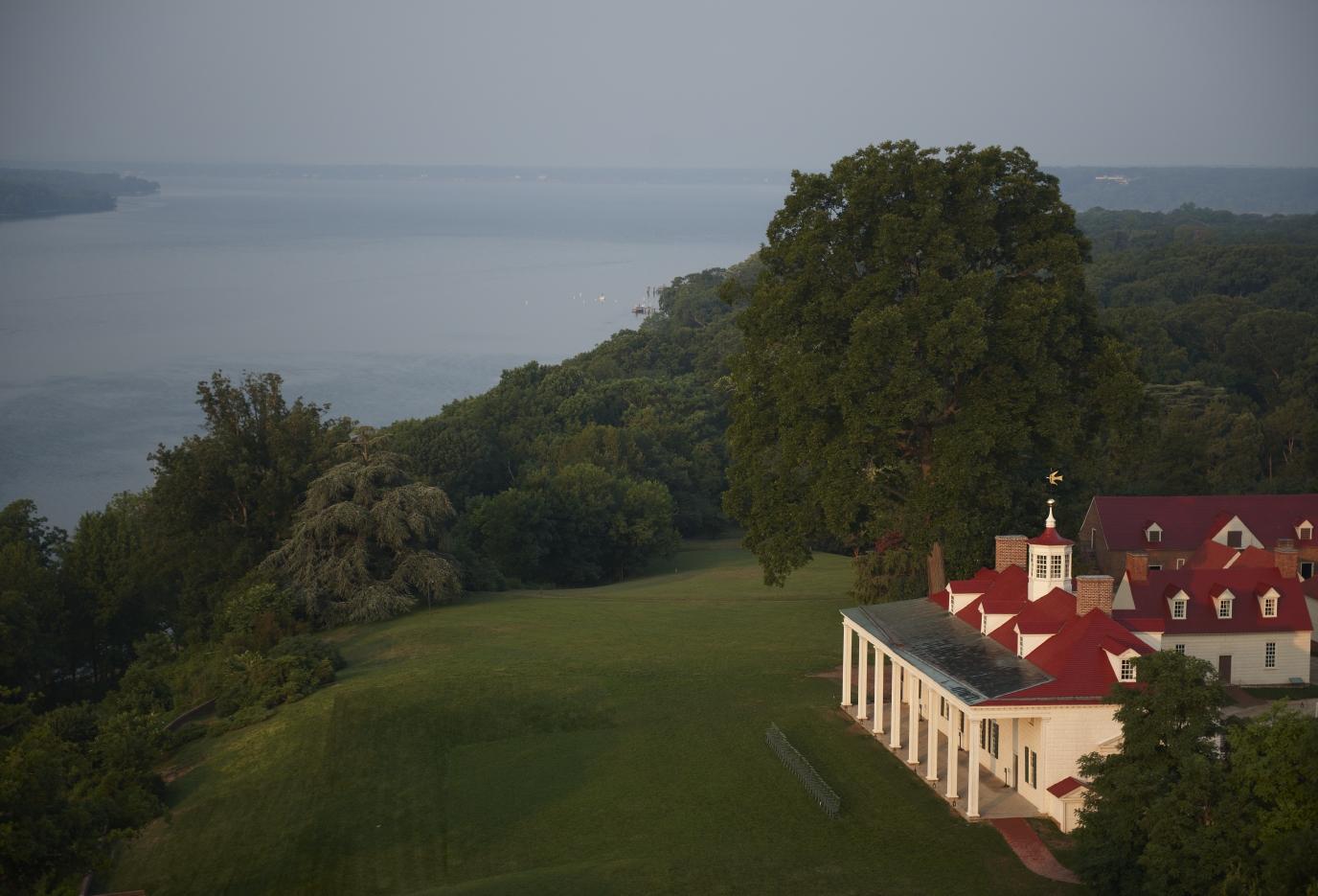 Mount Vernon, George Washington's Estate and Garden, overlooks the Potomac River.