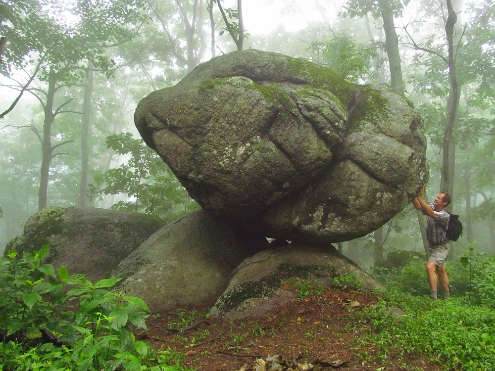 One of many interesting rock formations along the Harkening Hill Trail