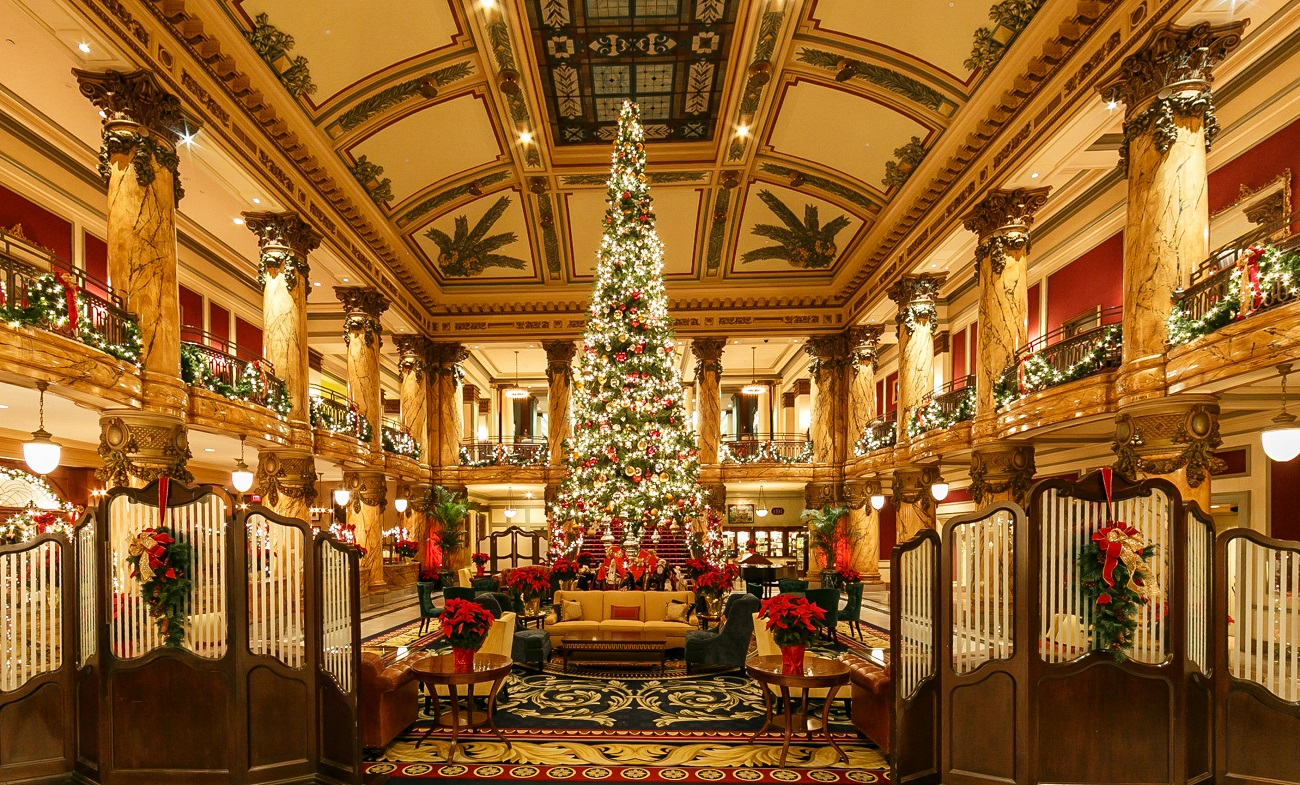 The Jefferson Hotel Holiday Lobby Decorations and Christmas Tree