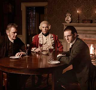 Kevin McNally as Richard Woodhull and Jamie Bell as Abraham Woodhull. Photo: Antony Platt/AMC