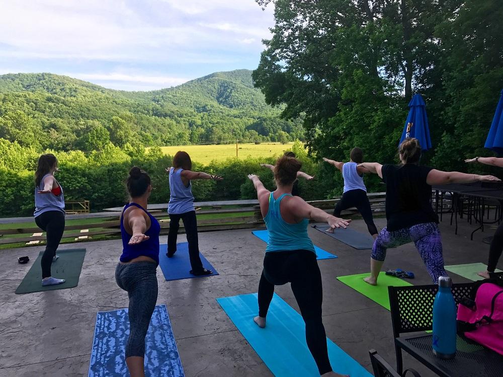 bold rock cider yoga class
