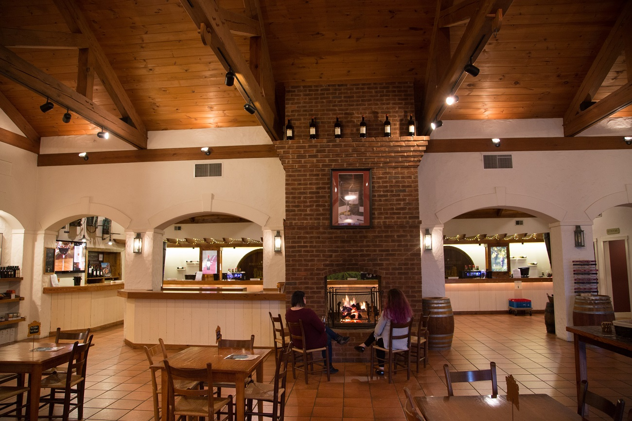 barboursville vineyards and winery tasting room fireplace