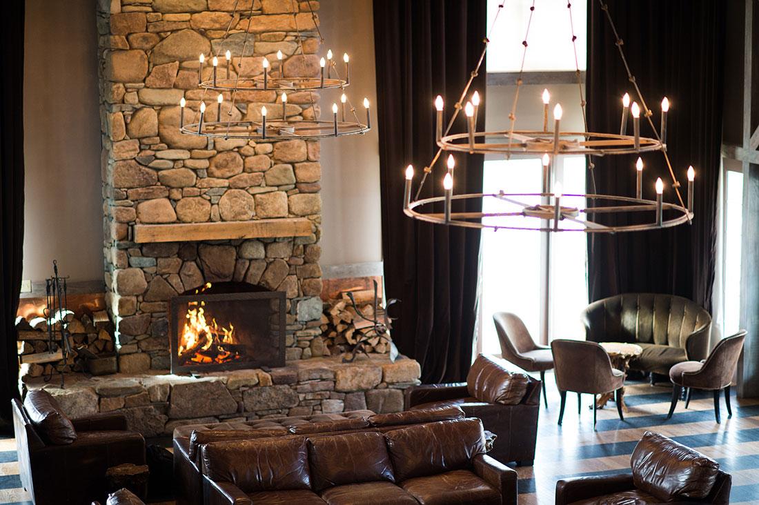 veritas vineyard and winery fireplace