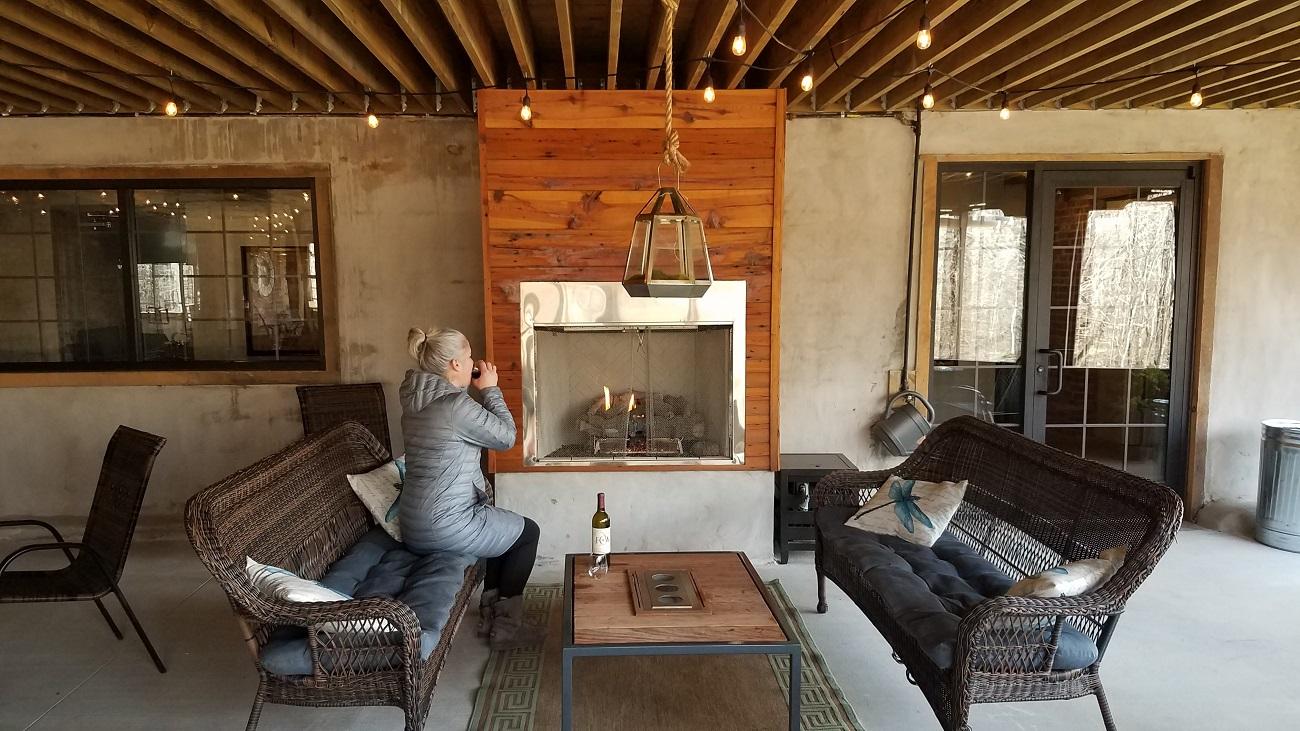 the virginia tasting cellar patio fireplace farmville